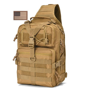 REEBOW TACTICAL Military Sling Pack  Molle Assault Range Shoulder Backpack Bag EDC Bag Day Pack with USA Tactical Flag