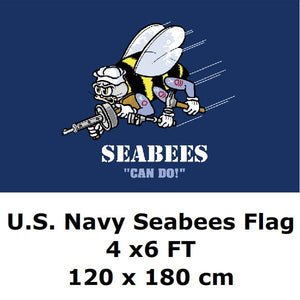 U.S. Navy Seabees Flag 4` x 6` FT Polyester Large American United States USA Naval Construction Battalion Flags and Banners