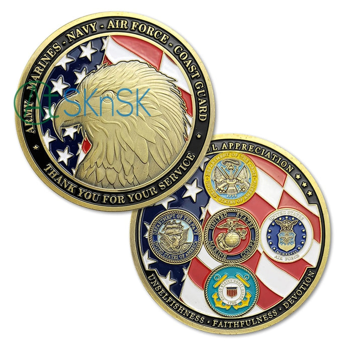 1-10pcs New Army Marines Navy Air force Coast Guard coin collectibles United States military family challenge coin for souvenir