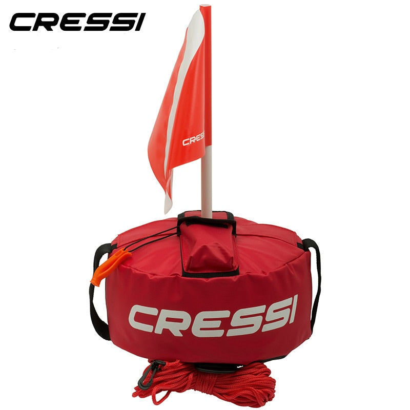 Cressi TONDA BUOY PVC Inflatable Dive Buoy With Red Flag Snorkel Scuba Diving Surface Marker Safety Outdoor Accessory