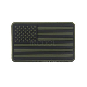 3D PVC American Flag Patch US Flag United States Thin Blue Line Military Morale Patch Tactical Emblem Badges Hook Rubber Patches