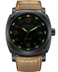 NEDSS Luxury brand watch fashionable tritium watch autmomatic watch genuine leather army Men's Original Navy SEAL Diver Watches
