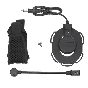 Tactical Microphone Headset PTT Portable Radio Mic Neckband for Walkie Talkie Helmet Communication CS Accessory Black