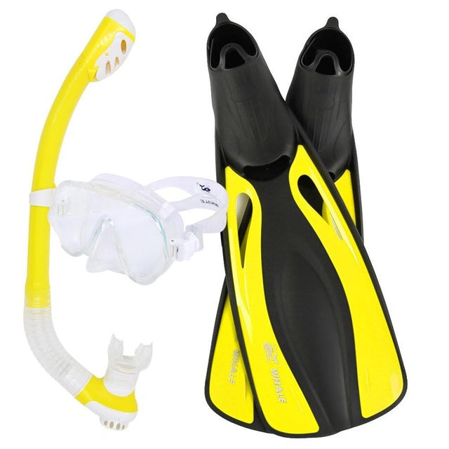 WHALE Professional Snorkels Scuba Diving Mask Goggles Glasses Diving Swimming Fins Flippers Set Diving Equipment