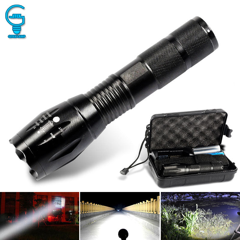 Tactical LED Flashlight Zoomable Lanterna Torch T6/L2 5 Modes Portable Flash Light 18650 Rechargeable Outdoor Camping Tent Light