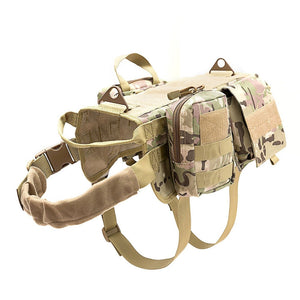 Dog Vest Tactical Dog Outdoor Training Hunting Hiking Harness Pet Vest with Detachable Pouches Harness Pulling Handle Pet Vests