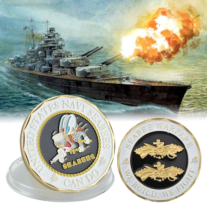 WR United States Navy Seabees Coins Collectibles Gold Copy Coins Seabee Warface Collection Coins Birthday Gifts Box Dropshipping