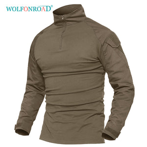 WOLFONROAD Men Tactical Shirt Camping Hiking Tee Shirt Men Long Sleeve Military T-Shirt Men's Hunt Sport T-shirts Men's Shirts