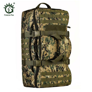 60L Dual Use Backpack Outdoor Men Women Sports Bag Military Tactical Bags Hiking Camping Waterproof Wear-resisting Nylon Bag