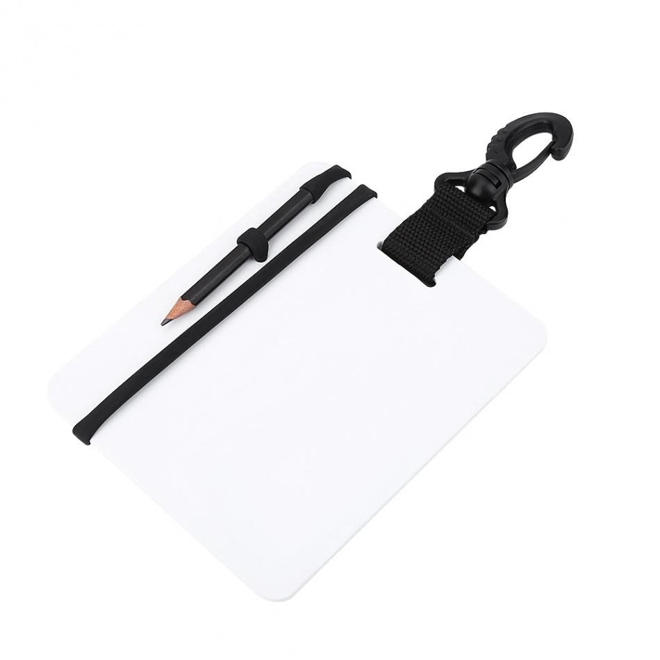 Scuba Diving Equipment Dive Underwater Writing Slate Diving Wordpad Gear Board with Swivel Clip and Pencil for Water Sports