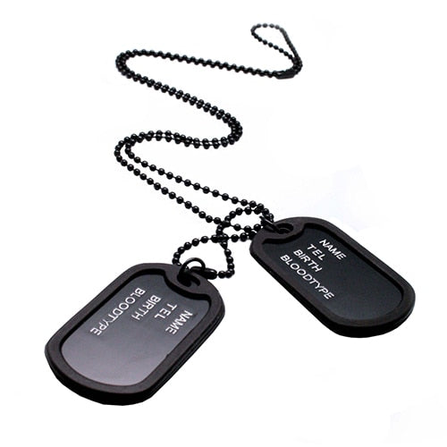Fashion Military Collares Black 2 Dog Tags Chain Pendants Necklaces Army Style Kolye Necklace Jewelry gift for men Bijoux