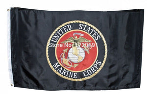 3x5 Black USMC Marines Marine Corps Emblem Flag 3'x5' Banner TWO  BUCKLE Free shipping