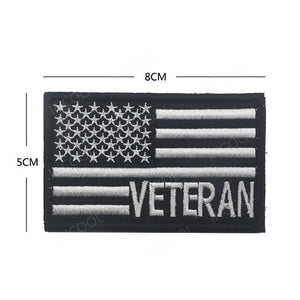 Veteran USA Flag 3D Embroidery Patch American Flags Army Military Morale Patches Tactical Emblem Appliques Embroidered Badges