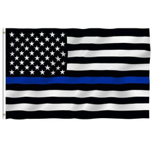 Load image into Gallery viewer, 150*90 cm Subdued Thin Blue Line Stripes USA Flags Grommets Police Cops Flags Black White Blue Flags