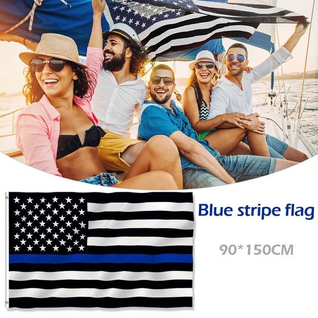 150*90 cm Subdued Thin Blue Line Stripes USA Flags Grommets Police Cops Flags Black White Blue Flags