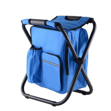 Load image into Gallery viewer, Outdoor Folding Portable Stool Ice Cold Bag Fishing Backpack Storage Cooler Chair Leisure Travel Hiking Camping Beach Picnic