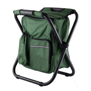 Outdoor Folding Portable Stool Ice Cold Bag Fishing Backpack Storage Cooler Chair Leisure Travel Hiking Camping Beach Picnic