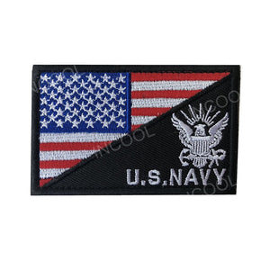 3D US Flag w/ NAVY Embroidery Patch USA American Morale Patch Tactical Emblem Badges Appliques Embroidered Patches For Clothing