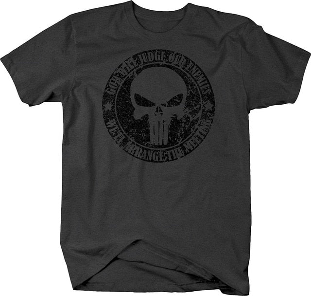 2019 Summer Cool Men Tee Shirt Distressed - God Will Judge Enemies Punisher Military Skull Tshirt Funny T-shirt