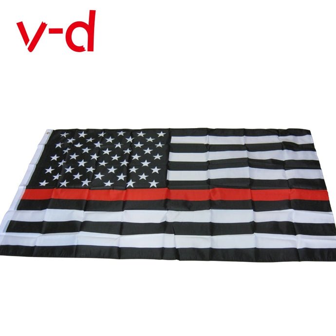 xvggdg 90*150cm USA Police Flags Thin red line American National Banner  Stars Printed Strip with Brass Grommets