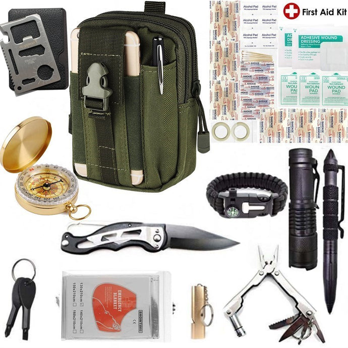 Survival kit Garget Outdoor Camping Travel kit Set Multifunction First aid SOS EDC Emergency Gear Tactical for Wilderness