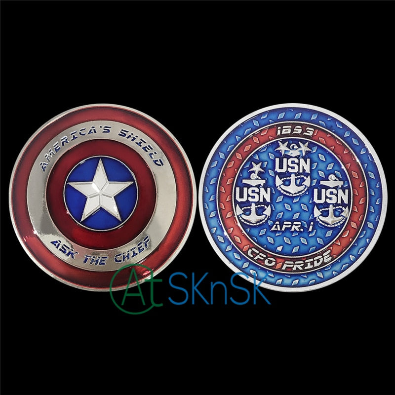Wholesale Good souvenir big medal America Shield Navy CPO Ask the Chief United States Navy challenge coin collectible for gift