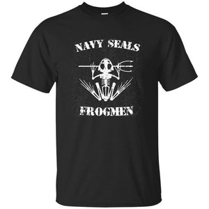 United States Navy Seals Frogmen Soldiers Distressed BLACK T-Shirt