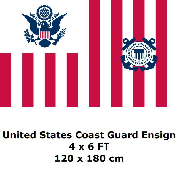 United States Coast Guard Ensign Flag 4` x 6` FT 100D Polyester Large USA US Army Flags and Banners