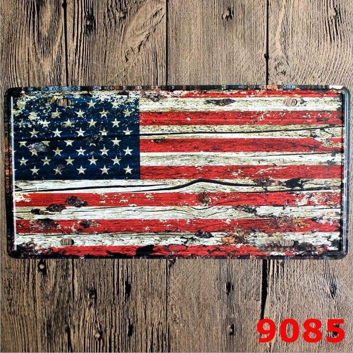 30*15 CM Vintage Tin Metal Signs Decorative Novelty License Plate American Flag Tin Sign Home Pub Bar Wall Poster