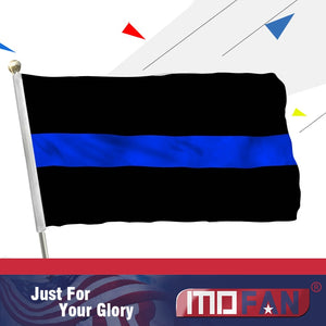 US Thin Blue Line Flag 3x5 Ft - Canvas Header and Double Stitched - Thin Blue Line Flags Military with 2 Brass Grommets MOFAN