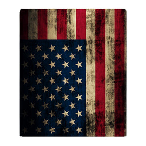 Vintage American Flag Grunge Soft Fleece Throw Blanket Solid 350G Thicker Blankets on Sofa/Bed Throw Blanket