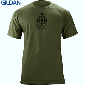 Mens Hipster Short Sleeve Tee Tops Vintage Navy E8 Senior Chief Petty Officer Rank Veteran T-shirt