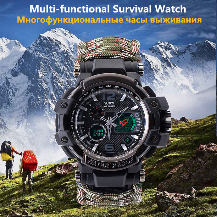 Outdoor Survival Watch Multi-functional EDC Gear Waterproof Military Tactical Paracord Watch Bracelet Camping Hiking Emergency