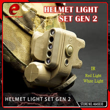 Load image into Gallery viewer, Element Airsoft  Tactical GEN 2 HELMET LIGHT White Red IR Led Gen II Helmet Flashlight Fit 20mm Picatinny Rail Black Tan