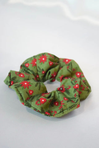 Christmas Poinsettia XL Hair Scrunchie