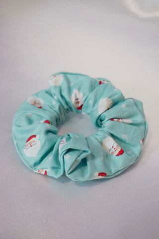 Blue Santa Christmas Hair Scrunchie