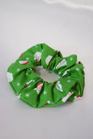 Christmas Santa Heads Green Hair Scrunchie