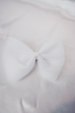White Tulle Hair Bow