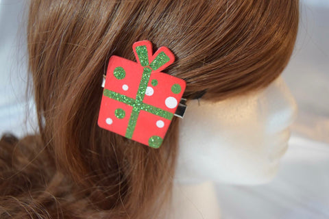 Wooden Gift Hair Clip Red Dots
