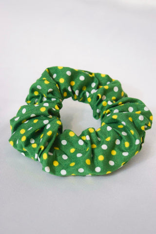 Green Dots Hair Scrunchie