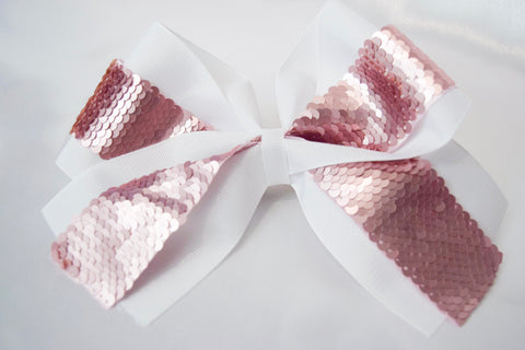 Rose Gold Flip Sequins Large Hair Bow