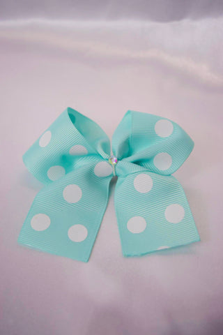Light Blue Dots Hair bow