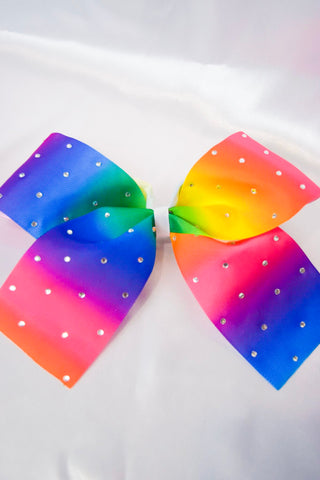 Rainbow Rhinestones Large Hair Bow