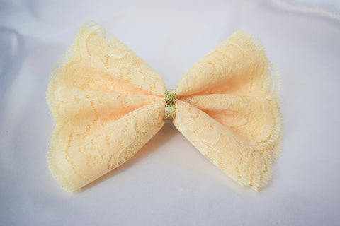 Cream Lace Hair Bow