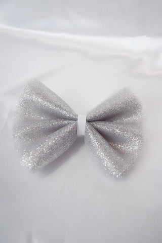 Silver Tulle Hair Bow