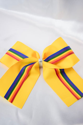 Yellow Rainbow Large Hair Bow