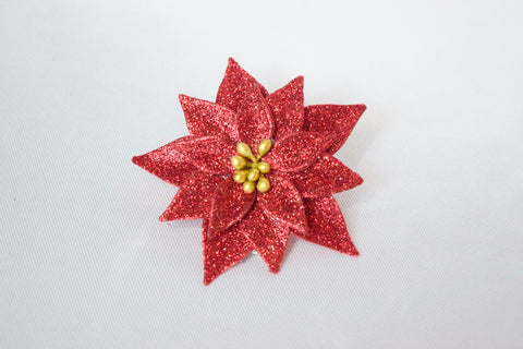 Red Glitter Christmas Poinsettia Clip