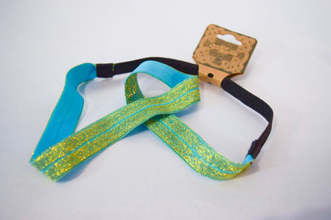 Light Blue Gold Elastic Headband