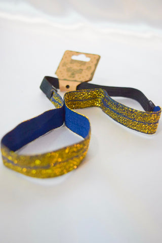 Navy with Gold Elastic Headband