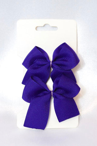 Dark Purple Small Hair Bow Set